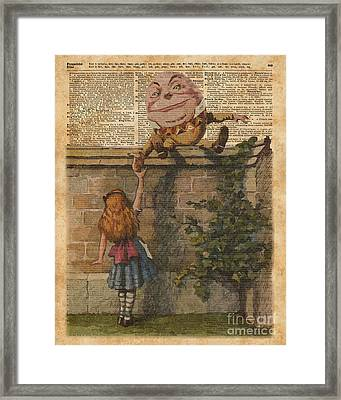 Humpty Dumpty Alice In Wonderland Vintage Dictionary Art Framed Print by Jacob Kuch