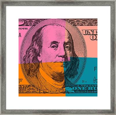 Hundred Dollar Bill Pop Art Framed Print by Dan Sproul