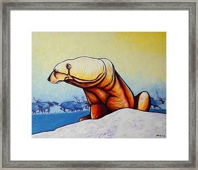 Hunger Burns - Polar Bear And Caribou Framed Print by Joe  Triano