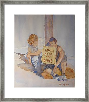 Hungry Vegan And Broke Framed Print by Jenny Armitage