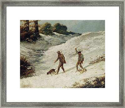 Hunters In The Snow Or The Poachers Framed Print by Gustave Courbet