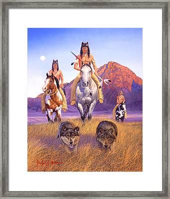 Hunters Of The Full Moon Framed Print by Howard Dubois