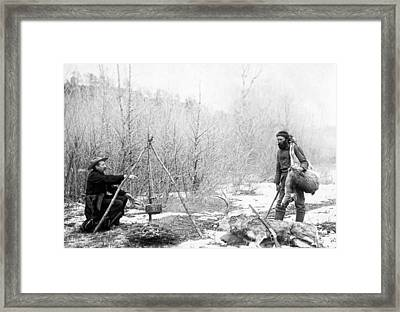 Hunting Camp Winter 1887-88 -- South Dakota Framed Print by Daniel Hagerman