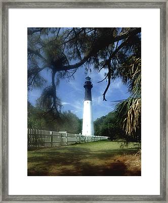 Hunting Island Lighthouse Sc Framed Print by Skip Willits