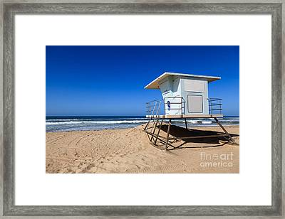 Huntington Beach Lifeguard Tower Photo Framed Print by Paul Velgos