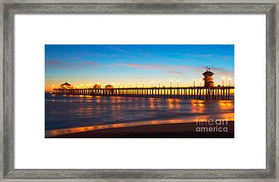 Huntington Beach Pier - Twilight Framed Print by Jim Carrell