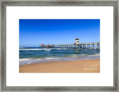 Huntington Beach Pier In Orange County California Framed Print by Paul Velgos