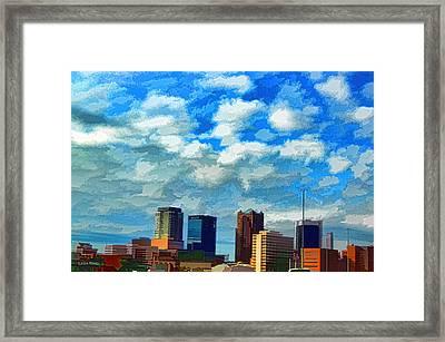 Huntsville Alabama Skyline Abstract Art Framed Print by Lesa Fine