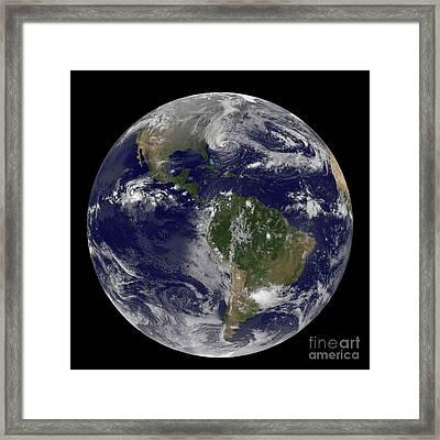 Hurricane Sandy Along The East Coast Framed Print by Stocktrek Images