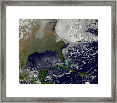Hurricane Sandy Battering The United Framed Print by Stocktrek Images