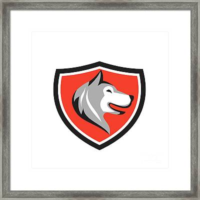 Husky Dog Head Shield Retro Framed Print by Aloysius Patrimonio