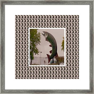 Husky The Muskie Kenora Ontario  Roadside Attractions Photography Artistic Graphic Digital Touch  Framed Print by Navin Joshi
