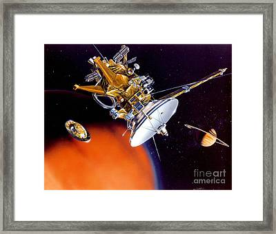 Huygens Probe Separating Framed Print by NASA and Photo Researchers