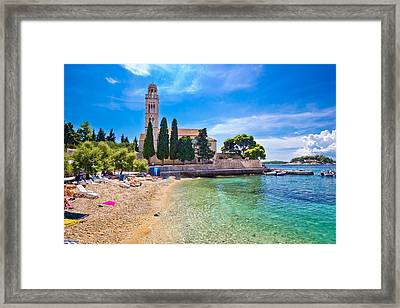 Hvar Island Turquoise Beach And Stone Church Framed Print by Dalibor Brlek