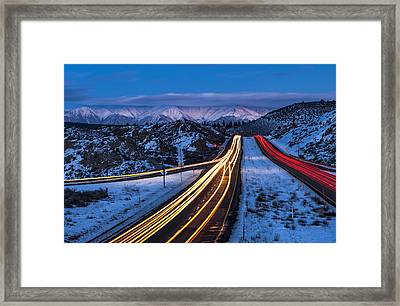 Hwy. 395 At Blue Hour Framed Print by Cat Connor