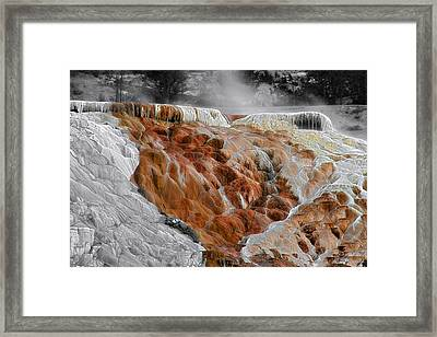 Hymen Terrace Mammoth Hot Springs Yellowstone Park Wy Framed Print by Christine Till