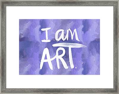 I Am Art Painted Blue And White- By Linda Woods Framed Print by Linda Woods