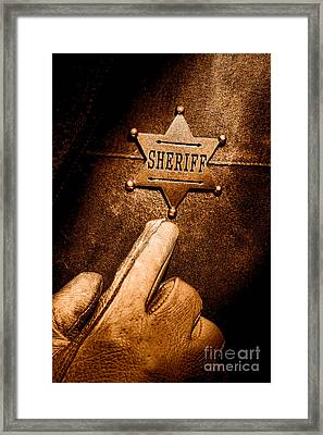 I Am The Law - Sepia Framed Print by Olivier Le Queinec