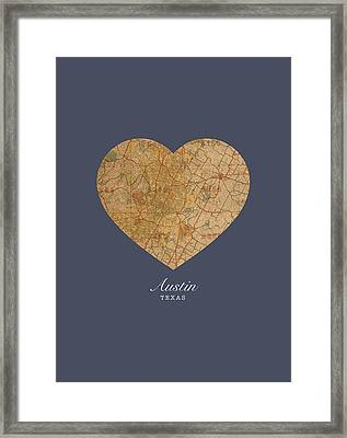 I Heart Austin Texas Vintage City Street Map Americana Series No 028 Framed Print by Design Turnpike