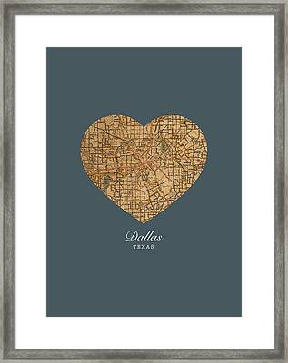 I Heart Dallas Texas Vintage City Street Map Love Americana Series No 030 Framed Print by Design Turnpike