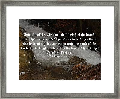 I Kings Seventeen Four And Five Framed Print by D R TeesT
