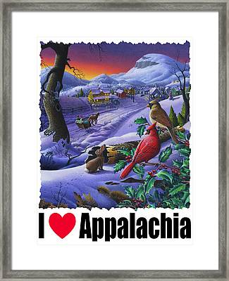 I Love Appalachia - Small Town Winter Landscape - Cardinals Framed Print by Walt Curlee