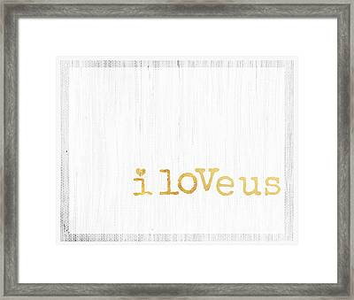 I Love Us Typography Decor Framed Print by WALL ART and HOME DECOR