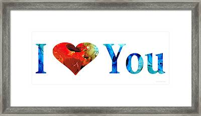 I Love You 10 - Heart Hearts Valentine's Day Romantic Art Framed Print by Sharon Cummings