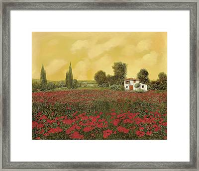 I Papaveri E La Calda Estate Framed Print by Guido Borelli