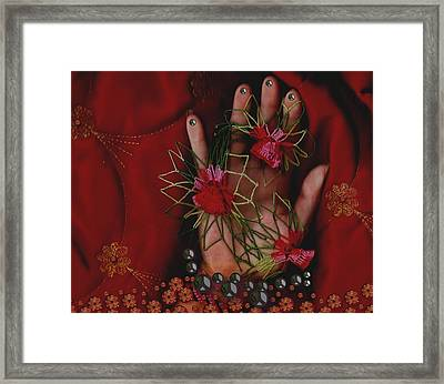 I Reach Love Peace In Life With My Hand Framed Print by Pepita Selles