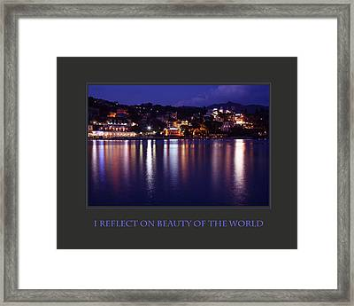 I Reflect On Beauty Of The World Framed Print by Donna Corless