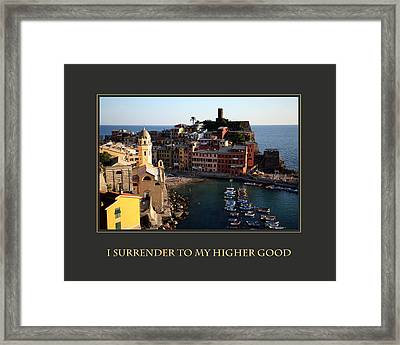I Surrender To My Higher Good Framed Print by Donna Corless