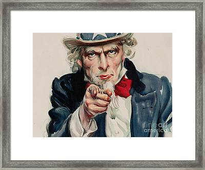 I Want You For U S Army Framed Print by James Montgomery
