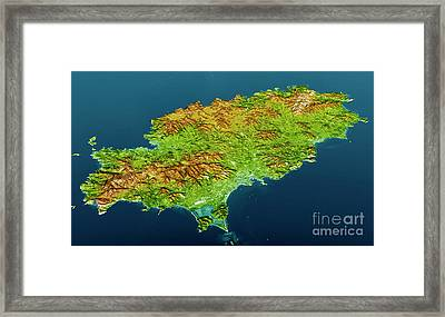 Ibiza Island Topographic Map 3d View Color Framed Print by Frank Ramspott