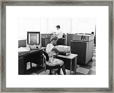 Ibm Microfiche Cards Framed Print by Underwood Archives