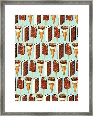 Ice Cream Novelties Pattern Framed Print by Kelly Gilleran