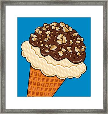 Ice Cream On Blue Framed Print by Ron Magnes