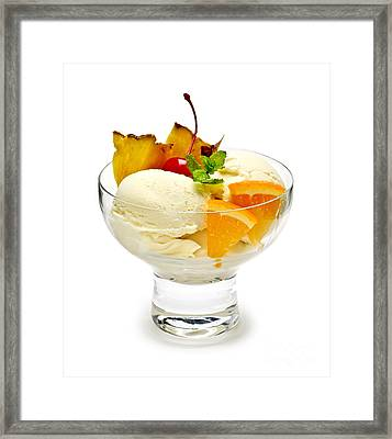 Ice Cream With Fruit Framed Print by Elena Elisseeva
