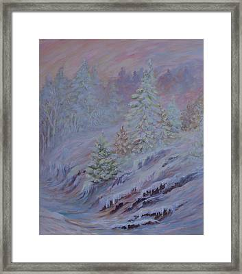 Ice Fog In The Forest Framed Print by Joanne Smoley