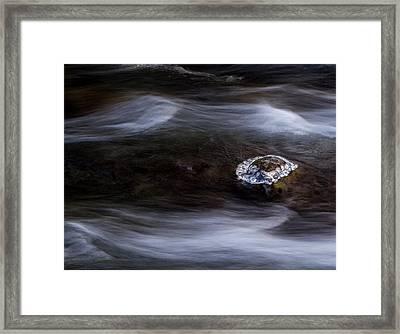 Ice Island In A Stream Framed Print by Jean Noren
