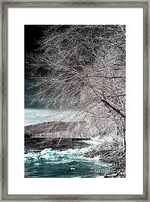 Ice On The Delaware River Infrared Framed Print by John Rizzuto