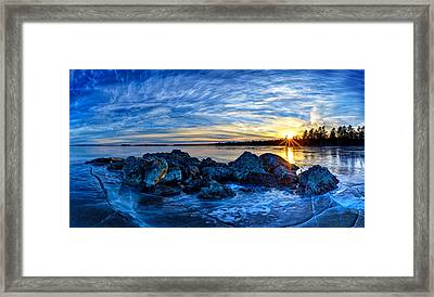 Icebound Sunset Panorama Framed Print by Bill Caldwell -        ABeautifulSky Photography