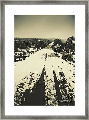 Iced Over Road Framed Print by Jorgo Photography - Wall Art Gallery