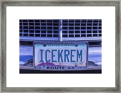 Icekrem License Plate Framed Print by Garry Gay