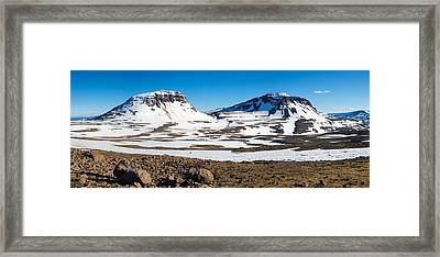 Iceland Snow-covered Mountains Panorama Framed Print by Matthias Hauser