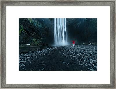 Iceland Waterfall Framed Print by Larry Marshall