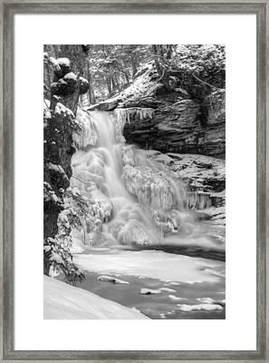 Icy Sheldon Reynolds Falls Framed Print by Lori Deiter
