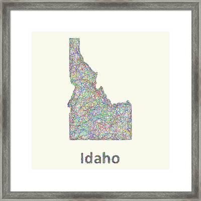 Idaho Line Art Map Framed Print by David Zydd