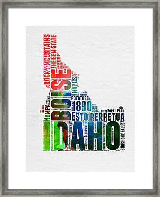 Idaho Watercolor Word Cloud  Framed Print by Naxart Studio