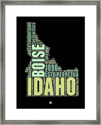 Idaho Word Cloud 1 Framed Print by Naxart Studio